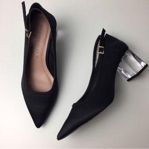 {Zara} Trafaluc Collection Silk Lucite Block Heels